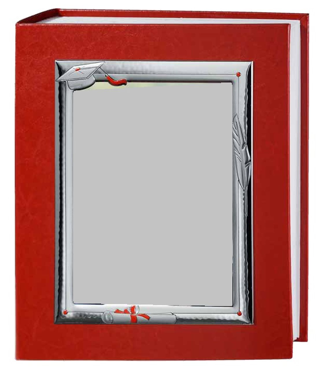 Red faux leather photo album 30x35cm degree papyrus with silver ...